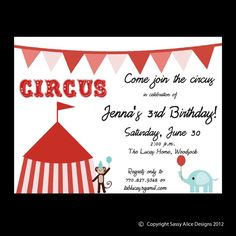 Circus Carnival Under the Big Top Birthday by sassyalice on Etsy, $1.50