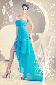 A-line❤ ▢ ▣ ♧Strapless Pleated❤ ▢ ▣ ♧  Chiffon Prom Dress❤ ▢ ▣ ♧