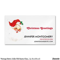 Vintage Retro Jolly Old Santa Claus Christmas Business Card Magnet
