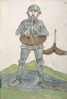 Universitätsbibliothek Heidelberg, Cod. Pal. germ. 126, fol. 033r (Man in armour with a swimming belt).  Philipp Mönch, Kriegsbuch (1496)