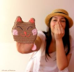 Crochet Cat Pouch Neko coin purse Crochet Kawaii Cat Face ears Clutch. $27.00, via Etsy.