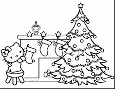 Hello Kitty Christmas Coloring Pages from Hello Kitty Coloring Pages Collection. Hello Kitty is one of the characters that is loved by many people, both children and adults. This character is identical to the pink color and is simi. Hello Kitty Christmas Tree, Book Christmas Tree, Christmas Tree With Presents, Elegant Christmas Trees, Christmas Tree Pictures, Colorful Christmas Tree, Christmas Colors, Beautiful Christmas, Disney Christmas