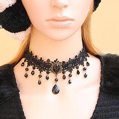 Gothic mujer Encaje Negro Flor Collar con cuentas Bijou