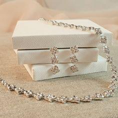 Bridesmaid Gifts - Classy Square Rhinestone Bridal Jewelry Necklace  #JewelryLover