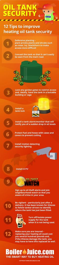 Heating Oil Tank Security & Preventing Heating Oil Theft  http://www.loveinfographics.com/categories/how-to-guides/heating-oil-tank-security-preventing-heating-oil-theft-infographic #HeatingOil #Diesel #HVACService #HVACSystemInstallation #BulkFuelStorage