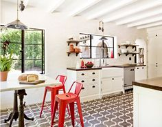 white kitchen with pantone fiesta accents, industrial style lighting, modern cottage kitchen, bright red, fiery red