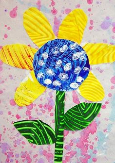 great textured painted paper flowers ~ eric carle inspired art