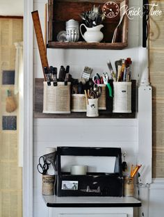 Turn a Wooden Tool Tote, some tin cans and randome pieces of junk into a Business in a Box Organization Station via KnickofTime.net
