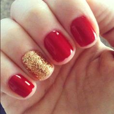 Does RED ever go out of style? We don't think so! Add a glittler accent nail for some FUN!