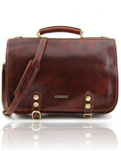 CAPRI TL10068 Leather messenger bag 2 compartments - Cartella in pelle 2 scomparti