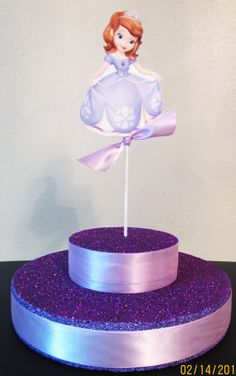 Sofia First Birthday Party Glitter Lollipop Cake Pop Cupcake Stand  by KhloesKustomKreation, $35.00