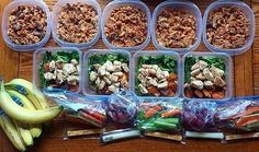 Meals and snacks are portioned out and ready to grab-and-go for @mimi.fernweh! She's got chicken, sweet potatoes, asparagus, broccoli, ground turkey, brown rice pasta – so many healthy options! - Stuck on what to prepare? Download @mealplanmagic and you're covered!