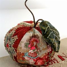 The Winesap Apple Pincushion with hand embroidery by fiberluscious: Fabric Art, Fabric Crafts, Sewing Crafts, Sewing Projects, Crazy Quilting, Quilting Ideas, Silk Ribbon Embroidery, Hand Embroidery, Motifs Applique Laine