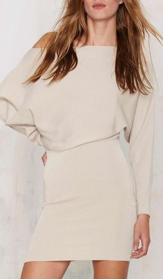 Slouchy off shoulder dress...perfect for fall
