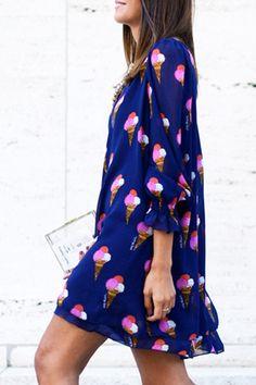 Ice Cream Cone Print Loose-Fitting Dress