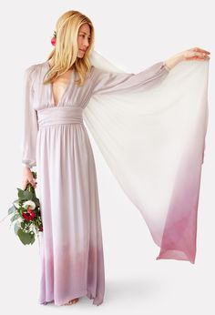 The Violet Sunset - dip dyed veil.  Pearl Halo.  Silk Chiffon.