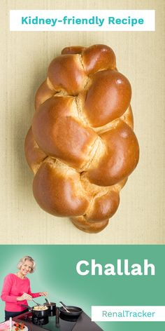 Challah is an egg-rich yeast-leavened bread that is usually braided or twisted before baking and is traditionally eaten by Jews on the Sabbath and holidays. Start delaying dialysis by knowing what kidney foods to eat and controlling your nutrient intake. Kidney Recipes, Kidney Foods, Diabetic Recipes, Diet Recipes, Kidney Health, Diabetic Foods, Low Potassium Recipes, Low Sodium Recipes, Renal Diet