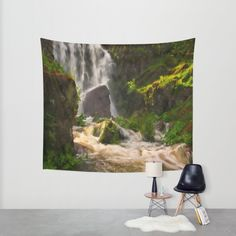 Waterfall in the fairy forest Wall Tapestry by Tanja Riedel | Society6