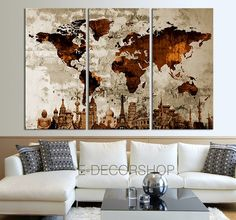The World of the Wonder with WORLD MAP Canvas Print on Old Wall