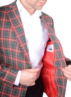 Chaqueta Hombre Americana Tartan Donald verde tejido de cuadros rico en lana  www.lacolonial.eu