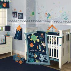 Colorful Blue Ocean Sea life Baby Boy Nursery 5pc Crib Bedding Set w/ Turtles in Baby, Nursery Bedding, Crib Bedding | eBay
