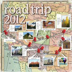 #papercraft #scrapbook #layout  Road Trip 2012