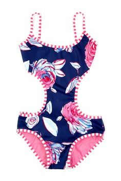 Blue in Bloom Monokini cute Baños Para Niñas ef34d7121b0