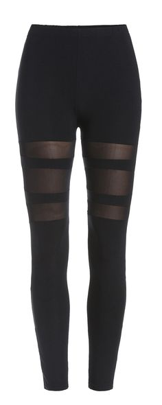 Elastic Waist Mesh Insert Leggings at romwe.com. You need it almost any time!