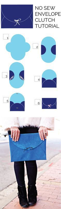 No-Sew Leather Envelope Clutch Tutorial - see kate sew no sew leather clutch tutorial with template. Clutch Tutorial, Envelope Tutorial, Diy Clothing, Sewing Clothes, Pochette Diy, Diy Bags Purses, Diy Couture, Creation Couture, Envelope Clutch