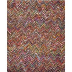 Safavieh Nantucket Collection NAN141C Handmade Blue and Multicolored Cotton Area Rug, 8-Feet by 10-Feet