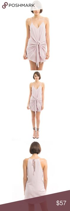 LIGHT PINK MUAVE FRONT TIE MINI DRESS * Pink Muave * Sleeveless * Mini Dress * Front low plunge neckline * Front tie knot * 100% Rayon * Price Firm. Use BUY NOW button to purchase * All pictures are showing actual products. All pictures taken exclusively for Style Link Miami Style Link Miami Dresses Mini