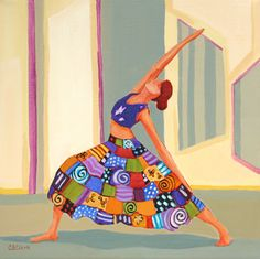 """Sun Warrior"" yoga pose -- by Carolee Clark, American comtemporary artist"