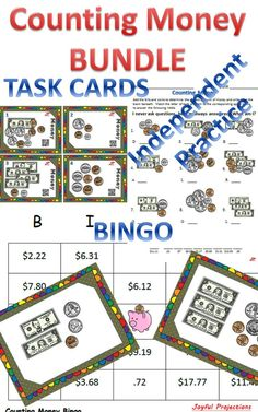 Task Cards, Bingo, and Independent Practice. Everything you need for your students to master 'Counting Money!'