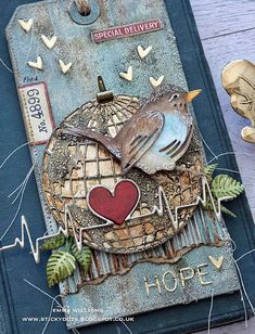 The Little Bird of Hope. Tim Holtz Dies, Sizzix Dies, Card Tags, Gift Tags, Crazy Bird, Watercolor Cards, Watercolor Tattoo, Artist Trading Cards, Altered Art