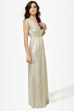 df619d61f5 All that Shimmers is Gold Light Gold Maxi Dress