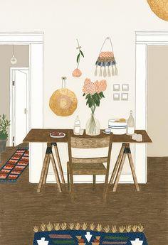 The modern apartment illustration Illustration Inspiration, Cute Illustration, Logo Inspiration, Interior Inspiration, Poster S, Guache, Wow Art, Grafik Design, Illustrations And Posters