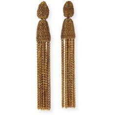 Oscar De La Renta Metal Chain Tassel Clip Earrings ($198) ❤ liked on Polyvore featuring jewelry, earrings, jewelry earrings, silver, metal earrings, oscar de la renta earrings, tassel jewelry, chain earrings and clip on tassel earrings
