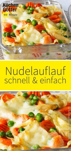 Schneller Nudelauflauf - Sometimes it just has to be quick. And this quick and easily prepared pasta casserole is suitable f - Pasta Casserole, Pasta Bake, Casserole Recipes, Pasta Recipes, Cake Recipes, Slow Cooker Recipes, Beef Recipes, Chicken Recipes, Cooking Recipes