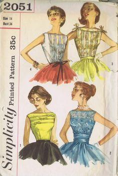 BLOUSE Vintage Sewing Pattern 1950s SIMPLICITY 2051 SIZE 14 BUST 34 WAIST 26 CUT