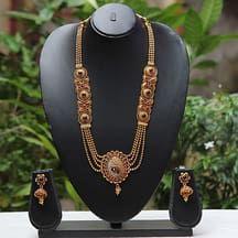 Smarty Peacock Design Ruby Colour Long Necklace Set