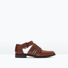 Image 1 of FLAT LEATHER CUT-OUT SHOES from Zara