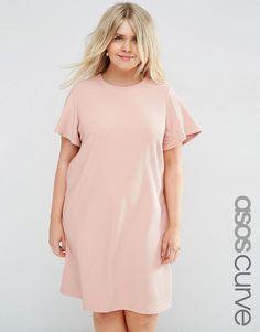 Image 1 ofASOS CURVE Shift Dress with Ruffle