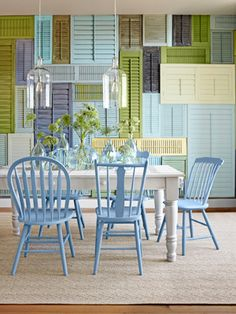 Interior Wall Decorating Ideas - How To Create A Shutter Wall - Country Living. Shutter wall say whaaaa? Outdoor Furniture Sets, Dining Room Decor, Colourful Shutters, Shutter Wall, Old Shutters, Home, Dining Furniture, Home Decor, Vintage Shutters