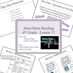 Great idea for incorporating Spinelli's books into the classroom. Maniac Magee, Spelling Worksheets, 6th Grade Reading, Middle School English, Question Of The Day, 5th Grades, Graphic Organizers, Read Aloud, Teaching Resources