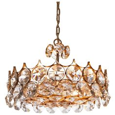 Stunning seven-light gilt brass and diamond shaped crystal glass chandelier. Palwa, 1960s and in excellent condition. Vintage Chandelier, Chandelier Pendant Lights, Modern Chandelier, Chandeliers, Gemstone Jewelry, Unique Jewelry, Contemporary Lamps, Messing, Diamond Shapes