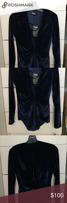 Reformation Avalon Bodysuit Brand New with tags!! Reformation Avalon bodysuit SOLD OUT!! Dark blue velvet. Size small. Perfect for Coachella. Never worn and cleaning out my closet. Reformation Other