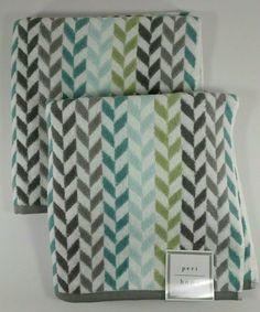 HAND TOWELS SET OF 2 ORANGE AQUA GREEN BROWN Y7ELLOW NEW PERI CHEVRON