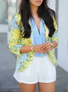 white shorts - blue blouse - yellow floral blazer - via fashforfashion