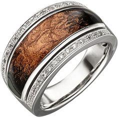 Dreambase Damen-Ring rhodiniert Silber Emaille 1 Zirkonia…