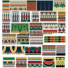 Collection of ancient Egyptian band patterns